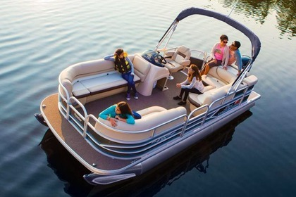 Charter Motorboat Pontoon Tracker 21 Party Barge Sunny Isles Beach