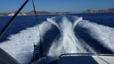 Charter motorboat in Santorini