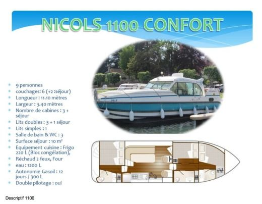 Motorboat NICOLS 1100 CONFORT for hire